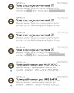 Qonto - notifications email